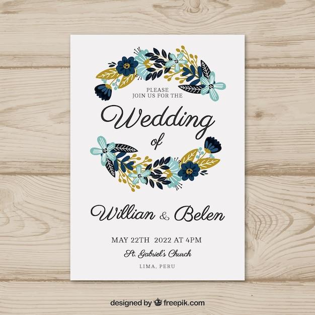 Zaproszenie ślubne Karty Z Kwiatami Darmowych Wektorów