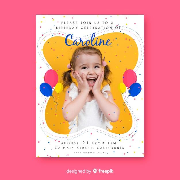 Zaproszenie urodzinowe szablon dzieci z obrazem Darmowych Wektorów