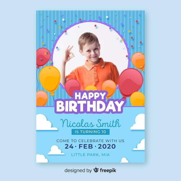 Zaproszenie urodzinowe szablon dzieci Darmowych Wektorów