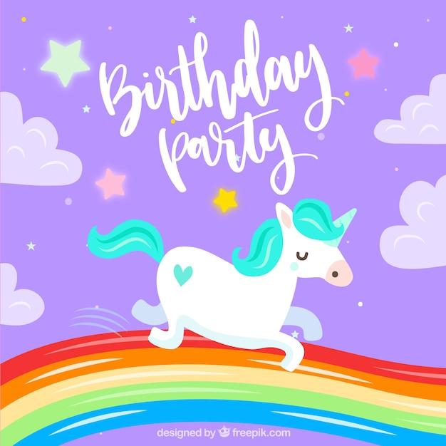 Zaproszenie Urodzinowe Z Jednorożca Wektor Darmowe Pobieranie