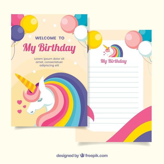 Zaproszenie Urodzinowe Z Jednorożecami I Balonami Wektor
