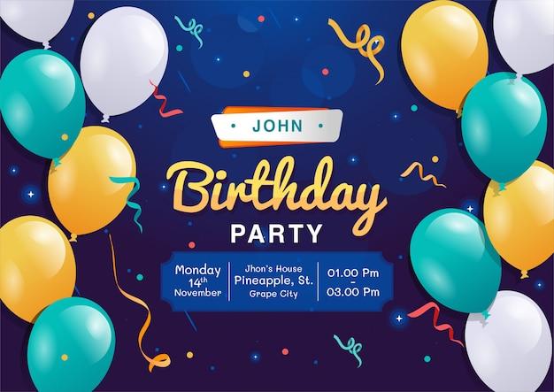 Zaproszenie urodzinowe Premium Wektorów