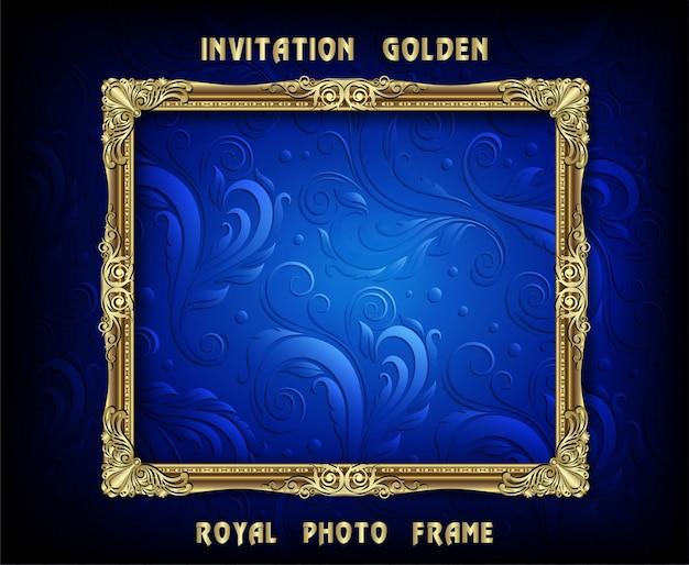 Zaproszenie wektora projekt złotej ramki Premium Wektorów