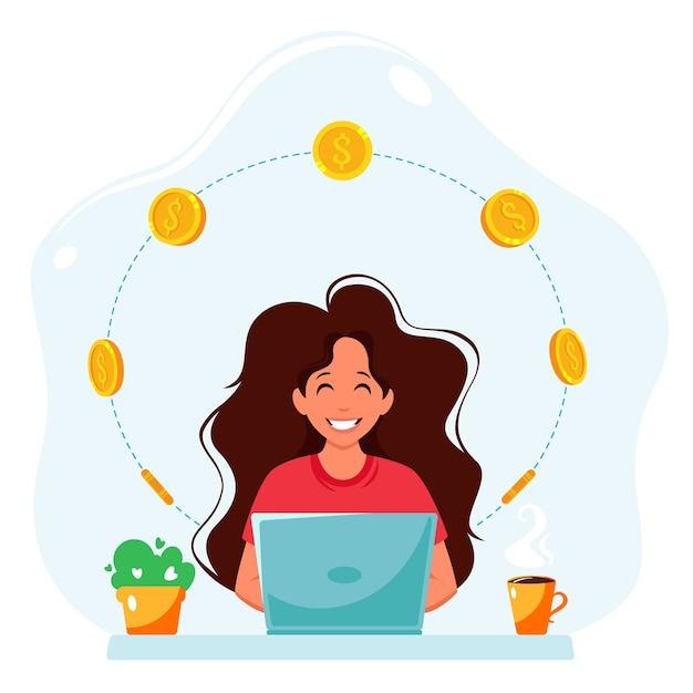 Zarabiaj Pieniądze W Internecie. Kobieta Z Laptopem I Monetami. Praca Zdalna, Koncepcja Freelancerska. Premium Wektorów