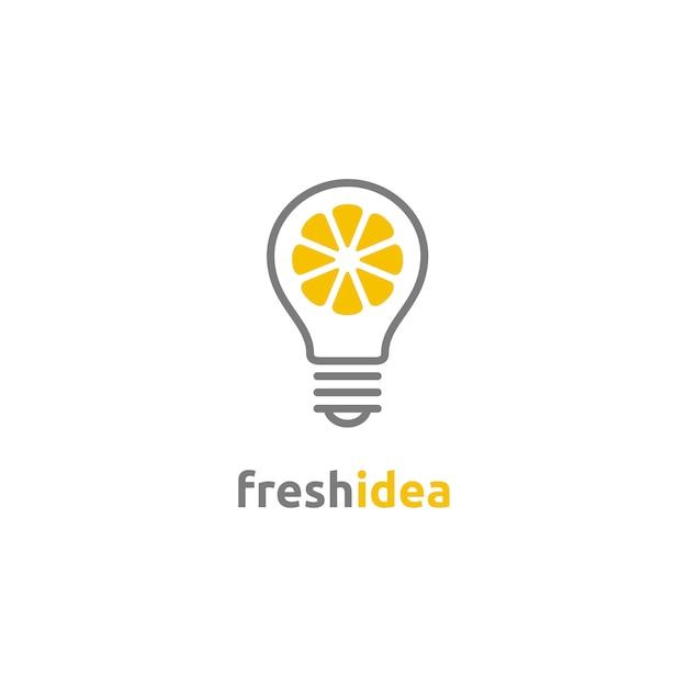 Żarówka i plasterek cytryny świeże logo idea Premium Wektorów