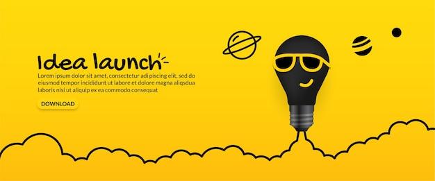 Żarówka Okulary Przeciwsłoneczne Wystrzeliwuje W Kosmos Na żółtym Tle Premium Wektorów