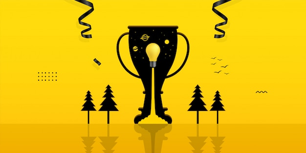 Żarówka W Otworze Trofeum Na żółtym Tle Premium Wektorów