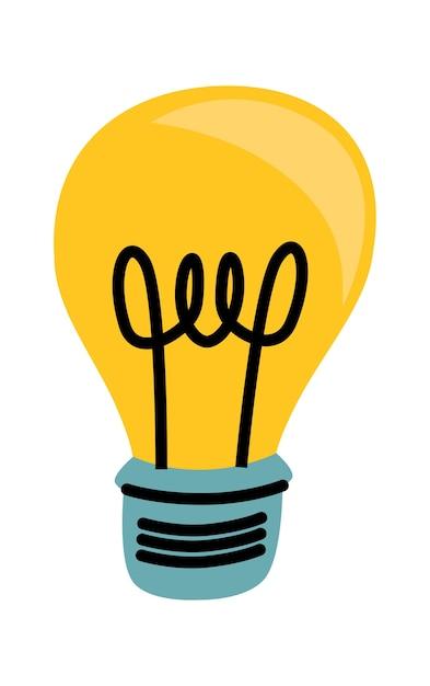 Żarówka żółty świecące Kreskówka Wektor Ilustracja, Symbol Idei Darmowych Wektorów