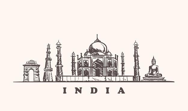 Zarys Atrakcji Indii Premium Wektorów
