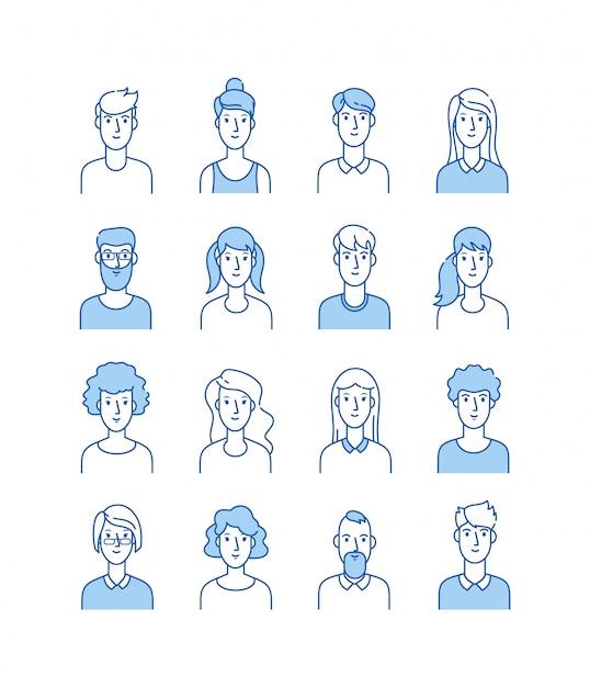 Zarys Awatarów. Uśmiechający Się Młodzi Ludzie Ikony Linia Użytkownika Mężczyzna Kobieta Anonimowa Twarze Mężczyzna Kobieta ładny Facet Web Avatar Profil Zestaw Premium Wektorów