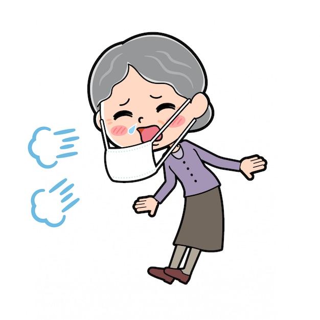 Zarys babci chorej Premium Wektorów