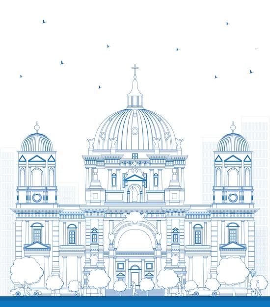 Zarys Berlińskiej Katedry W Berlinie Premium Wektorów