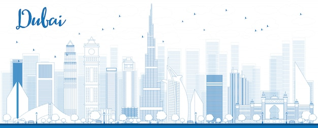 Zarys Panoramę Dubaju Z Niebieskimi Drapaczami Chmur Premium Wektorów