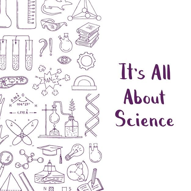 Zarysowane Elementy Nauki Lub Chemii Premium Wektorów