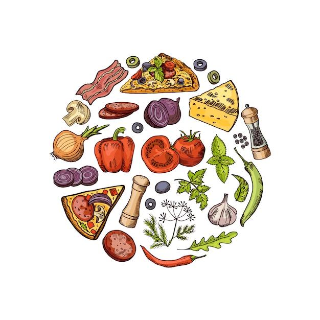 Zarysowane i kolorowe włoskie elementy pizza koncepcja koło. włoska pizza i smaczna ilustracja salami Premium Wektorów