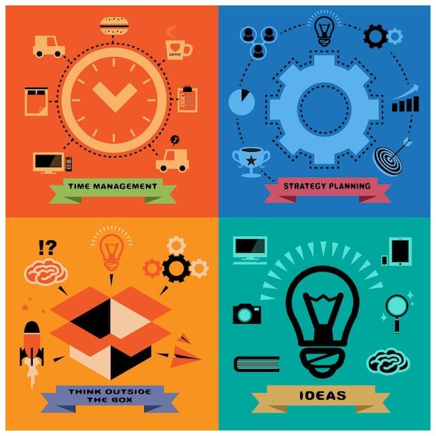 Zarządzanie czasem, planowanie strategii, myślenie nieszablonowe, idea. Premium Wektorów