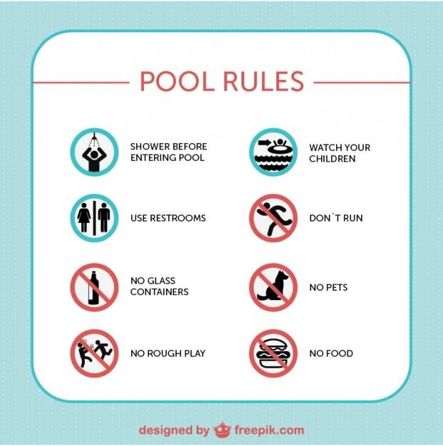 Zasady znaki bezpieczeństwa wektor basen Darmowych Wektorów