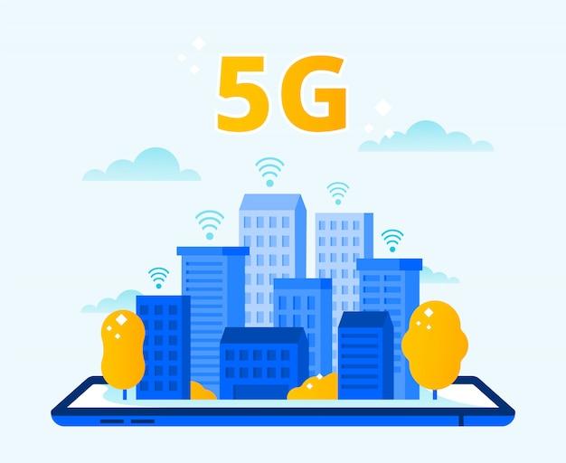 Zasięg Sieci 5g. Miasto Bezprzewodowy Internet, Sieci Piątej Generacji I Szybka Miejska Ilustracja Wektorowa Połączenie 5g Premium Wektorów