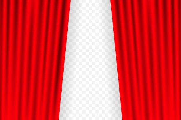 Zasłony Rozrywkowe Do Filmów. Piękna Czerwona Teatralna Zasłona Złożona Na Czarnej Scenie. Ilustracja. Premium Wektorów