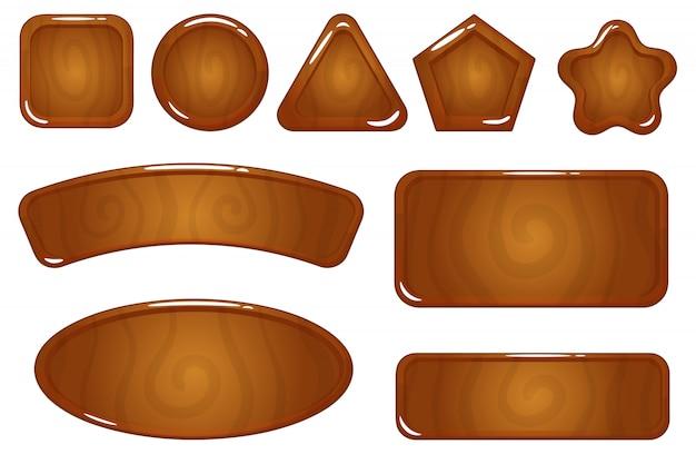Zasób Gry Drewniany Ikona Premium Wektorów