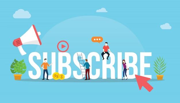 Zasubskrybuj Kanał Wideo W Mediach Społecznościowych Premium Wektorów