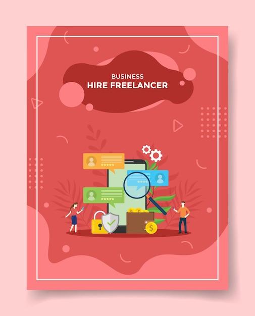 Zatrudnianie Osób Pracujących Na Zlecenie Freelancerów Wokół Smartfona Lupe Lupa Znajdź Profil Kandydata Kłódka Tarcza Portfel Pieniądze Moneta Premium Wektorów