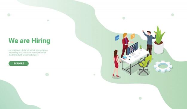 Zatrudnij programistę plakatu lub szablonu banera do projektowania strony głównej lub lądowania Premium Wektorów