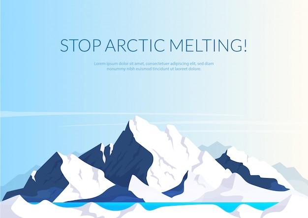 Zatrzymaj Arktyczny Topnienia Transparent Płaski Szablon Premium Wektorów