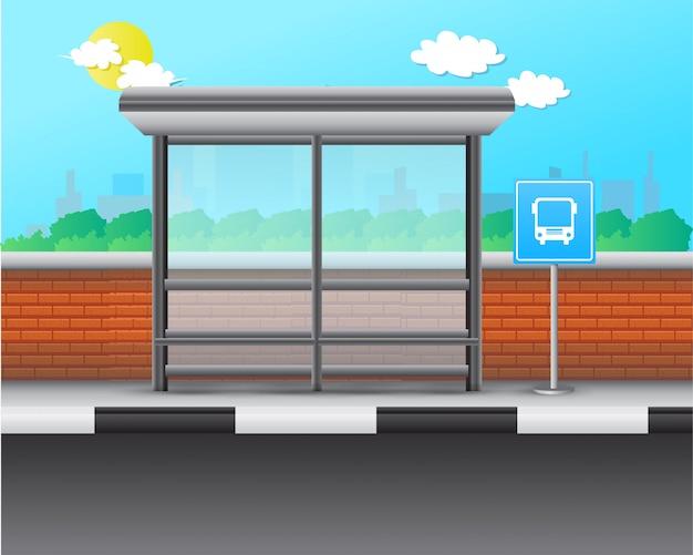 Zatrzymaj autobus realistyczne ilustracji wektorowych Premium Wektorów
