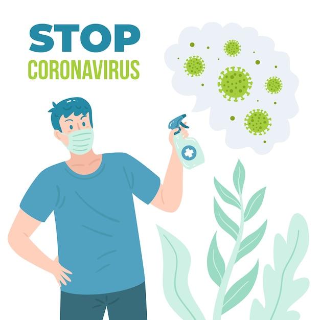 Zatrzymaj Koronawirusa Za Pomocą środka Dezynfekującego Darmowych Wektorów