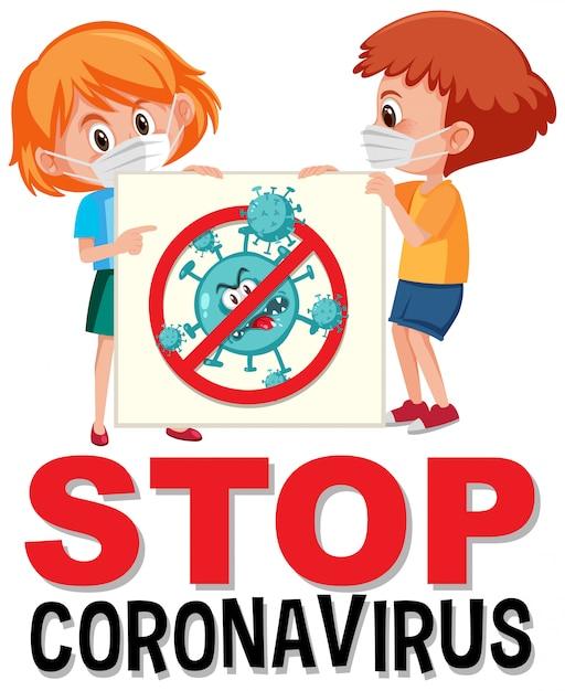 Zatrzymaj Logo Koronawirusa Z Dzieckiem Trzymającym Znak Stop Koronawirusa Premium Wektorów