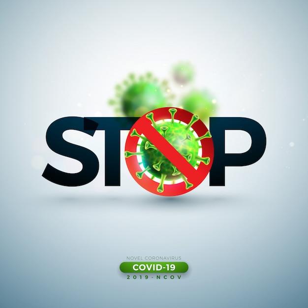 Zatrzymaj Projektowanie Koronawirusa Za Pomocą Wirusa Covid-19 W Widoku Mikroskopowym Darmowych Wektorów