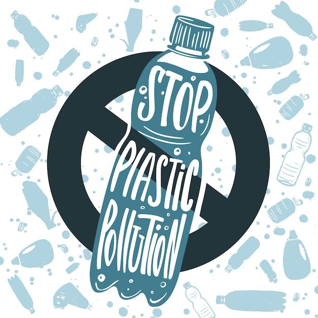 Zatrzymaj zanieczyszczenia z tworzyw sztucznych Premium Wektorów