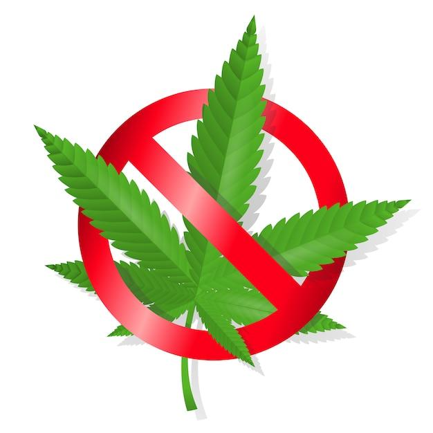 Zatrzymaj znak marihuany Darmowych Wektorów