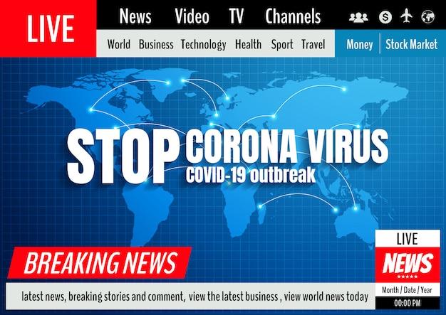 Zatrzymuje Coronavirus, Wiadomość Okładkowego Szablonu Tło, Ilustracja. Premium Wektorów