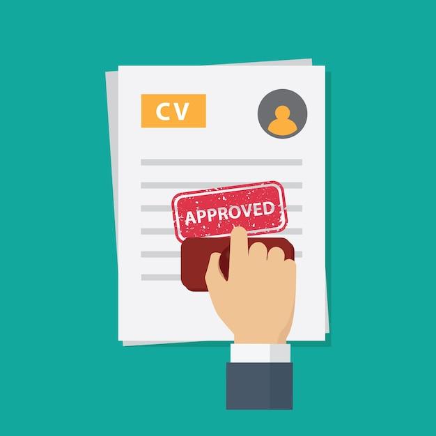 Zatwierdzono Wniosek O Pracę, Ludzie Ręcznie Tupią Zatwierdzonym Słowem Na Wniosek O Pracę Premium Wektorów