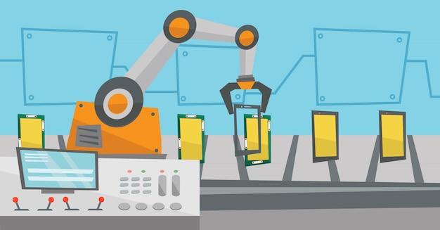 Zautomatyzowana Robotyczna Linia Produkcyjna Smartfonów. Premium Wektorów
