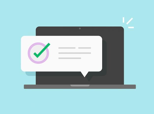 Zawiadomienia Wiadomości Na Laptopie Komputerowym Premium Wektorów