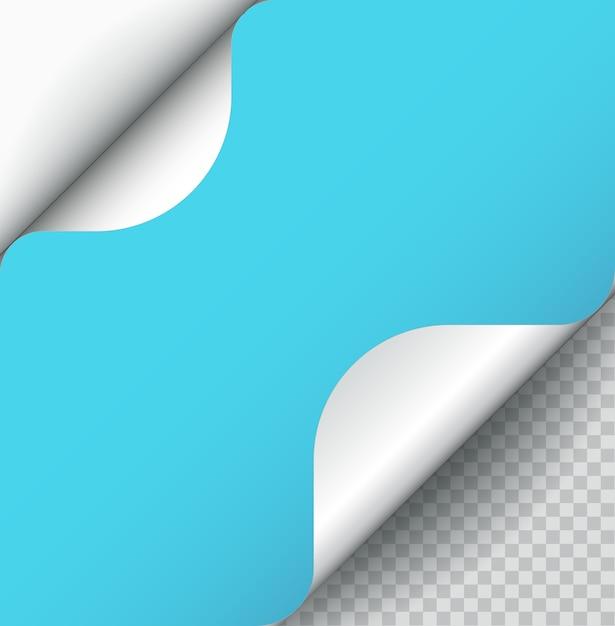 Zawinięcie Strony Papieru Kolor Niebieski Z Cieniem Na Białym Tle. Premium Wektorów