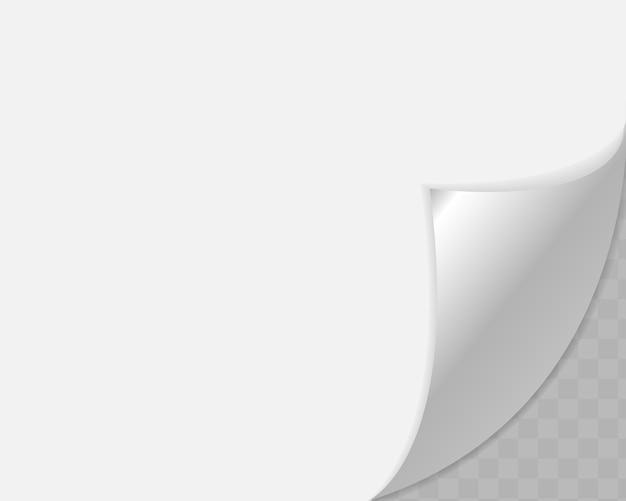 Zawinięty Róg Papieru Na Przezroczystym Tle Z Delikatnymi Cieniami, Realistyczna Papierowa Strona. Premium Wektorów