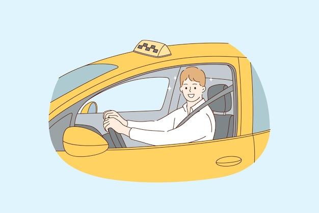 Zawód Taksówkarza Podczas Koncepcji Pracy Premium Wektorów