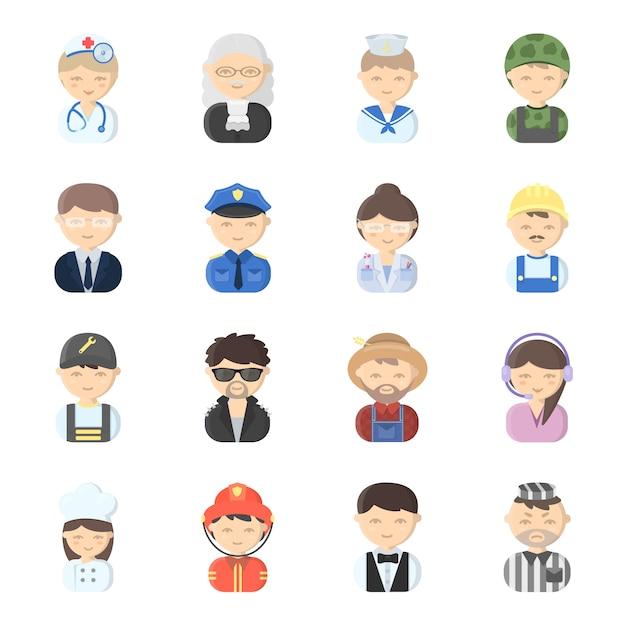 Zawód twarz kreskówka wektor zestaw ikon. wektorowa ilustracja zawód twarzy ludzie. Premium Wektorów