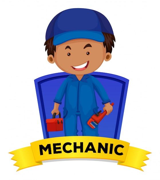 Zawód wordcard z słowo mechanikiem Darmowych Wektorów