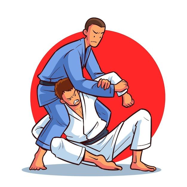 Zawodnicy Jiu-jitsu Walczą Na Czarnych Pasach Darmowych Wektorów