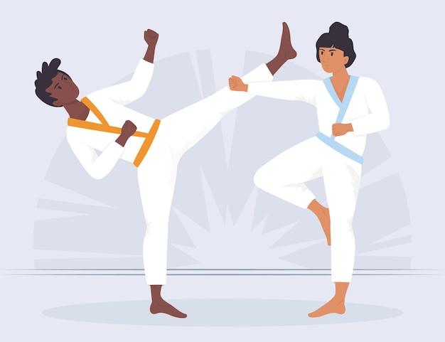 Zawodnicy Jiu-jitsu Walczą Z Kobietą I Mężczyzną Premium Wektorów