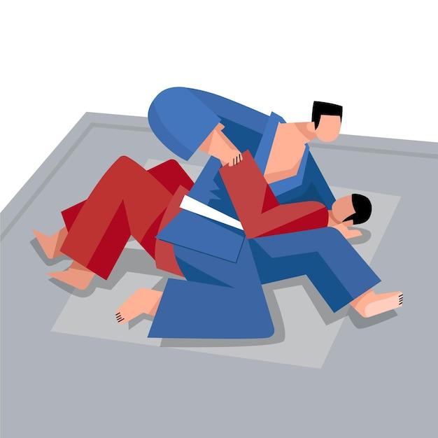 Zawodnicy Jiu Jitsu Walczą Darmowych Wektorów