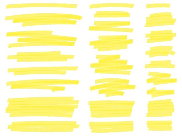 Zaznacz Linie Znaczników. żółte Kreski Zakreślacza Tekstu, Podkreślają Znakowanie Darmowych Wektorów