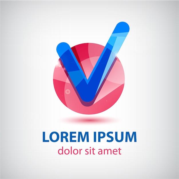 Zaznacz Niebieskie I Czerwone Logo Na Białym Tle Premium Wektorów