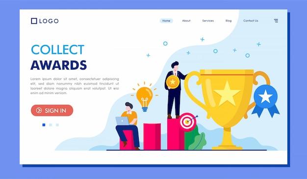 Zbiera nagrody ląduje strony strony internetowej ilustracyjnego wektorowego projekt Premium Wektorów
