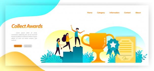 Zbieraj mistrzostwa, takie jak trofea certyfikatów i medale, za najlepsze zwycięstwa i osiągnięcia w wyścigu. szablon strony docelowej Premium Wektorów